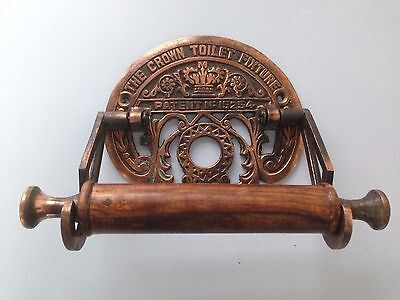 Antique Cast Iron Vintage Style Crown toilet roll holder Copper