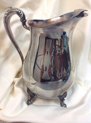 """Vintage 9"""" Silverplated Footed Water Pitcher By Eales Of Sheffield"""