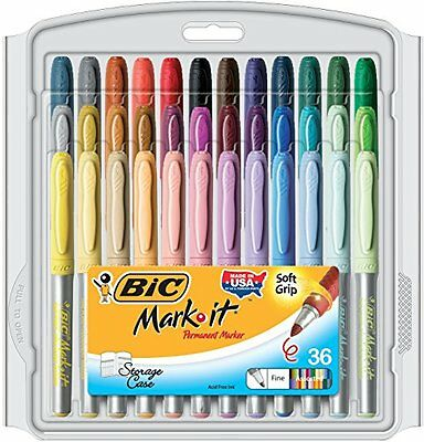 BIC Mark-It Color Collection Permanent Markers, Fine Point, Assorted colors, ...