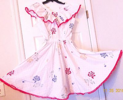 Square Dance Dress Sleeveless, 1 Pc White With Flower Print, Red Lace Size M