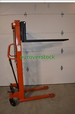 "Fork Over Manual Stacker 2,200 lb 63"" lift height 27 x 45"