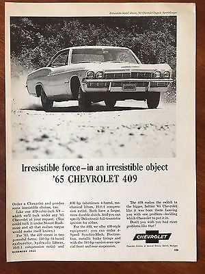 Vintage 1964 Original Print Ad for 1965 CHEVROLET 409 IMPALA SPORT COUPE