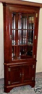 JASPER MAHOGANY CORNER CABINET Lighted Cupboard Mirrored Back #133 VINTAGE