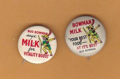 """1950s BOWMAN MILK dairy advertising pinbacks, Chicago IL, 7/8"""" wide LOT 2"""