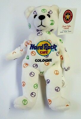 Hard Rock Cafe Cologne Herrington Teddy Bear Peace Sign Limited Edition Collect