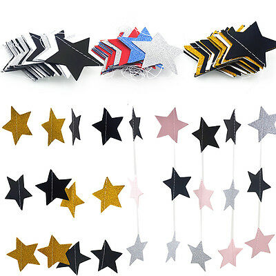2m Star Garlands Bunting Garland Banner Baby Girl Xmas Home Birthday Party Decor