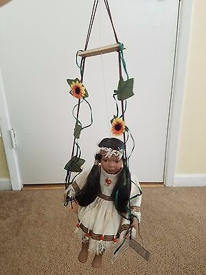 Native American Indian Porcelain Doll on Swing with Sunflowers