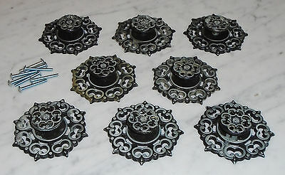 8 Vintage Antique Silver Amerock Cabinet Drawer Pull Knobs w Backplates
