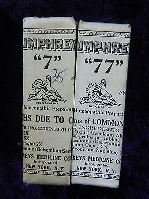 Lot Of Two (2) Humphreys' Homeopathic Preparation No. 7 & No. 77: Colds