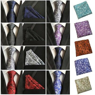 Men Flower Paisley Tie Jacquard Woven Necktie Pocket Square Handkerchief HZ0190