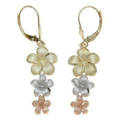 Solid 14K Yellow Pink White Tricolor Gold 3 Hawaiian Plumeria Earrings Leverback