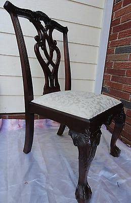 Vintage Mahogany Chippendale Ball And Claw Foot Side Accent Chair PIERCED BACK