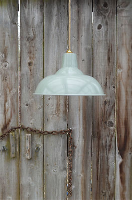 Large French Grey/green Ceiling Light Shade Hanging Pendant Factory Lamp Bl17