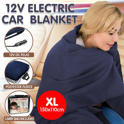 12V Heated Car Blanket Travel Rug Caravan Fleece Electric Throw Dc Auto Camping