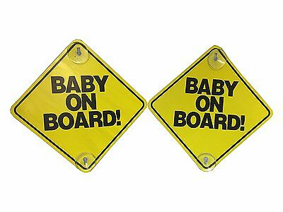 "Baby on Board - 2 Pack - Large 6"" x 6"" Yellow Car Signs with 2 Attached Suction"