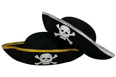 Pirate Tricorn Jolly Roger Skull Crossbones Hat Kids Costume Party Dress Up NEW