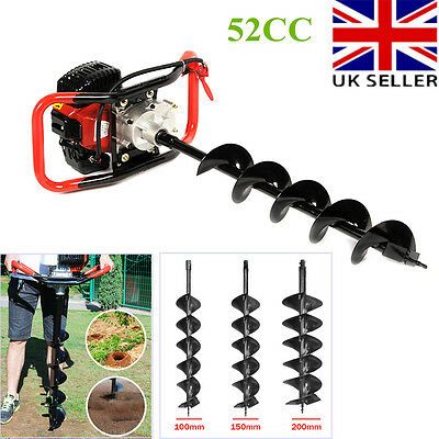 Panana 52CC Heavy Duty Petrol Earth Auger Post Hole Borer Digger & 3 Drill Bits