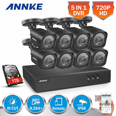 ANNKE 8CH 1080N 5IN1 DVR 720P 2000TVL Outdoor Bullet Security Cameras System 1TB