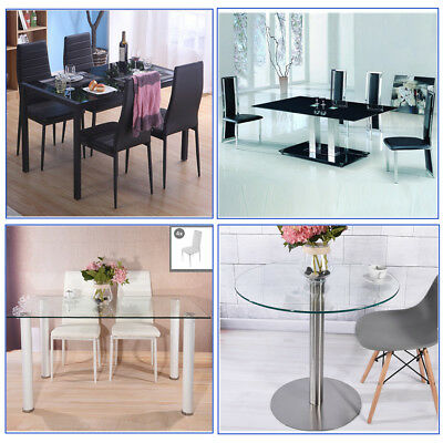 Panana Black or Clear Glass Dining Table Set with 4 Chairs Kitchen Furniture
