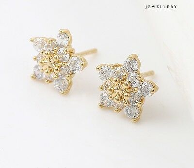 9ct 9k Yellow Gold Filled White Stone Stud Earrings 10mm