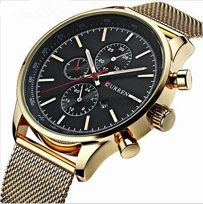 Mens Luxury Stainless Steel Mesh Band Analog Date Army Sport Quartz Wrist Watch