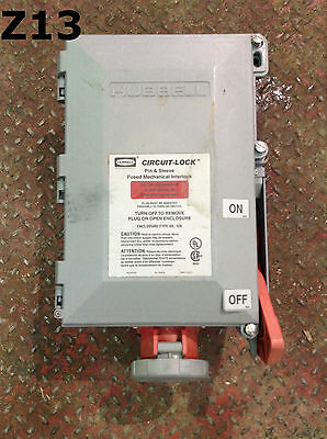 Hubbell HBL460MIF7W Pin and Sleeve Fused Mechanical Interlock 60A 480V 4x,12K