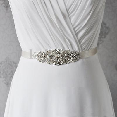 Champagne Belt Bridal Wedding Dress Rhinestone Sash Belt Vintage Crystal Flower