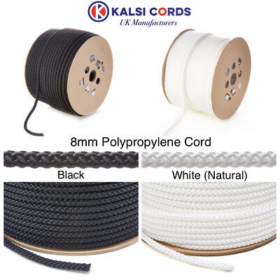 8Mm Round Polypropylene Rope Braided Poly Cord Sailing Camping Boating Pulley