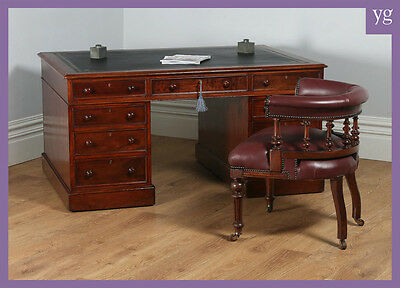 Antique English Victorian Mahogany Leather Partners Pedestal Office Writing Desk