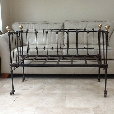 antique (Victorian?) iron and brass cot