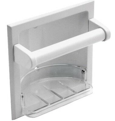 Mintcraft L770H-51-07 Recessed Soap Dish With Grab Bar &  Holder, White