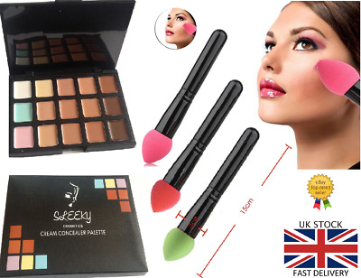 15 Colors Contour Foundation Concealer Palette #1 Makeup CL1+ Sponge Puff Brush