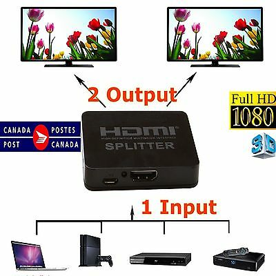 HDMI Splitter 1X2 1 in 2 out Hub Repeater Amplifier with support 4Kx2K TVs