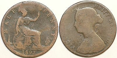 1881 to 1894 Victoria Bun-head Halfpenny Most Dates Available Worn Condition