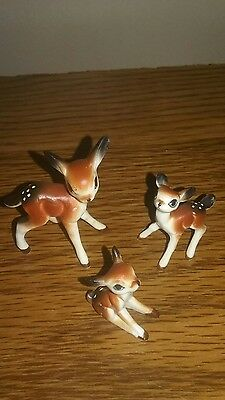 3 Vintage Miniature Bone China Deer Spotted Fawn Figurines