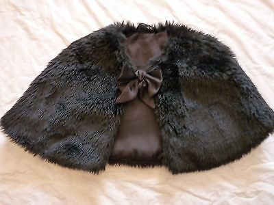 Girls Black Synthetic Fur Shrug/wrap