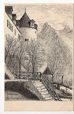 SUISSE SWITZERLAND canton FRIBOURG GRUYERES carte illustrateur Metzler chateau