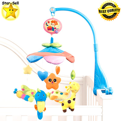 Baby Bed Crib Mobile Infant Musical Toy Hanging Soft Plush Toys Nursery Decor