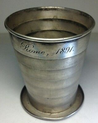 """Rare 1890 GORHAM Solid Sterling Silver Collapsible Cup Beaker 3"""" H"""