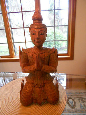 Wood Asian Statue, Warrior Praying.