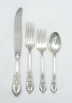 Estate Sterling Silver Rose Point by Wallace 4 piece place setting