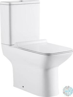 VeeBath Geneve Rimless Soft Square Bathroom Toilet Close Coupled Cloakroom