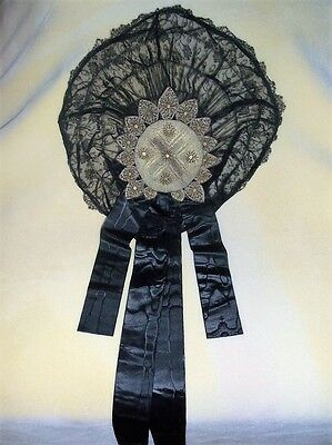 Vintage Black Lace Hat - 1917 - Wow