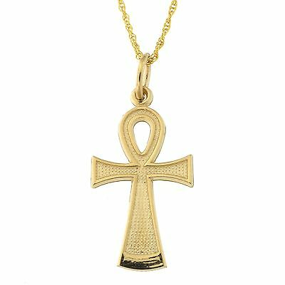 Beauniq 14k Yellow or White Gold Egyptian Ankh Cross Pendant Necklace