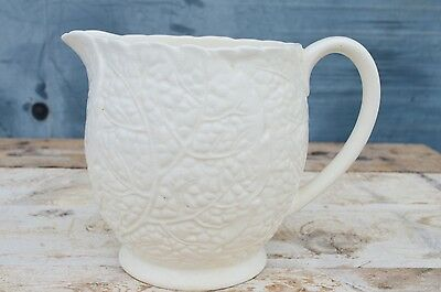 Antique 19thC Victorian Moulded Jug Pitcher England Leaves White