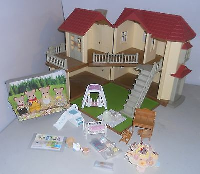 Sylvanian Families Beechwood Hall, Plus Mouse Family & Nursery Items. No Boxes