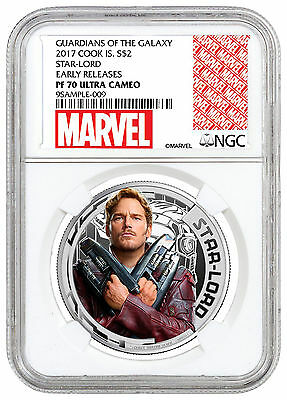 2017 Cook Is Marvel Guardians of Galaxy Star Lord Silver NGC PF70 UC ER SKU46088