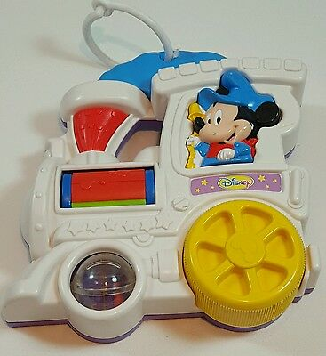 Vintage Disney Baby Mickey Mouse Train Spin n Play Rattle Mattel Crib Toy Music