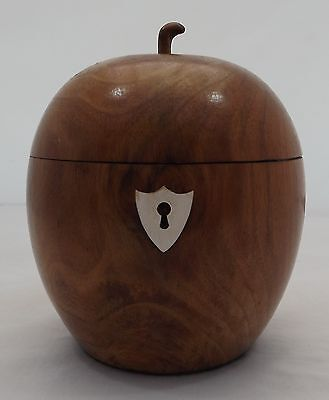 Antique Style Fruitwood Tea Caddy In The Shape Of An Apple