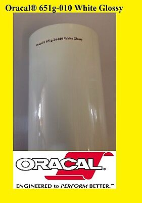 "1 Roll 24"" X 10yd ( 30 feet) WHITE GLOSSY Oracal 651 Vinyl Adhesive Sign 010G"